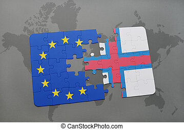 puzzle with the national flag of faroe islands and european union on a world map background.