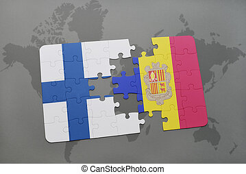 puzzle with the national flag of finland and andorra on a world map background.