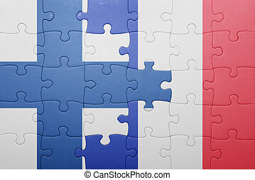 puzzle with the national flag of finland and france