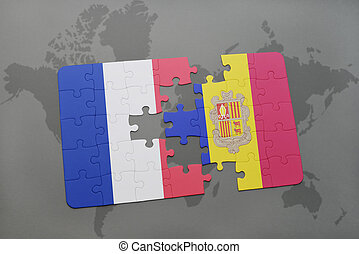 puzzle with the national flag of france and andorra on a world map background.