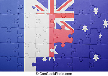puzzle with the national flag of france and australia
