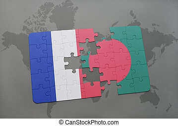 puzzle with the national flag of france and bangladesh on a world map background.