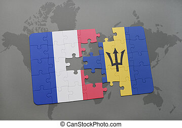 puzzle with the national flag of france and barbados on a world map background.