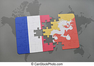 puzzle with the national flag of france and bhutan on a world map background.