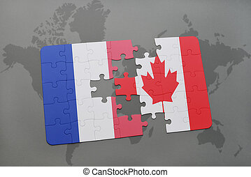puzzle with the national flag of france and canada on a world map background.