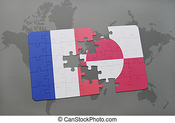 puzzle with the national flag of france and greenland on a world map background.