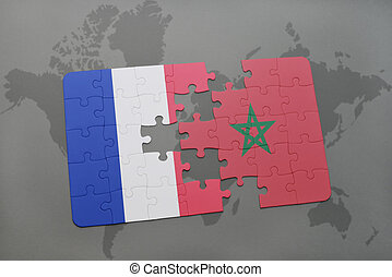 puzzle with the national flag of france and morocco on a world map background.