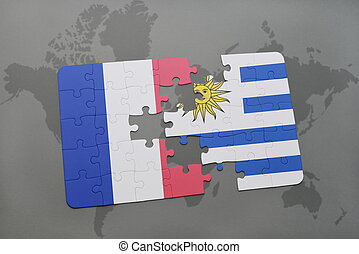 puzzle with the national flag of france and uruguay on a world map background.