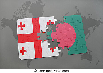 puzzle with the national flag of georgia and bangladesh on a world map