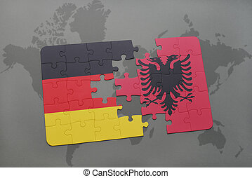 puzzle with the national flag of germany and albania on a world map background.