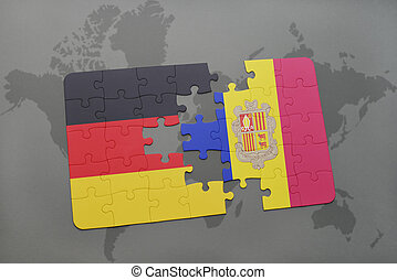 puzzle with the national flag of germany and andorra on a world map background.