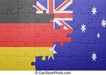 puzzle with the national flag of germany and australia