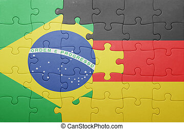 puzzle with the national flag of germany and brazil