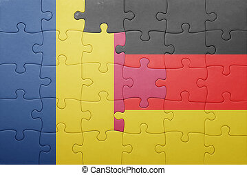puzzle with the national flag of germany and chad