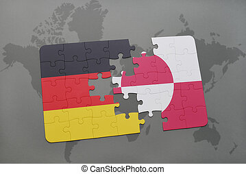 puzzle with the national flag of germany and greenland on a world map background.