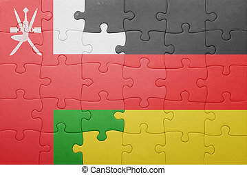 puzzle with the national flag of germany and oman