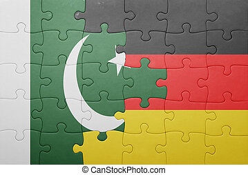 puzzle with the national flag of germany and pakistan