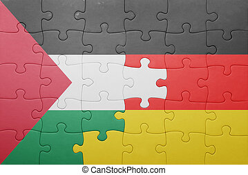 puzzle with the national flag of germany and palestine