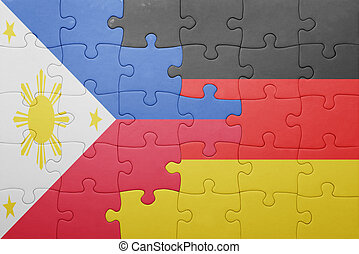 puzzle with the national flag of germany and philippines