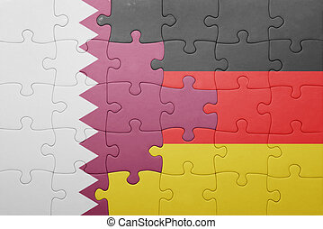 puzzle with the national flag of germany and qatar