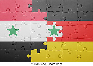puzzle with the national flag of germany and syria