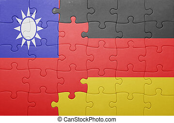puzzle with the national flag of germany and taiwan