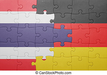 puzzle with the national flag of germany and thailand