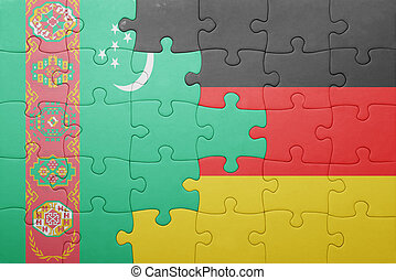puzzle with the national flag of germany and turkmenistan