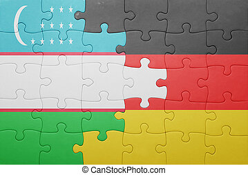 puzzle with the national flag of germany and uzbekistan