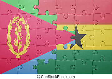 puzzle with the national flag of ghana and eritrea
