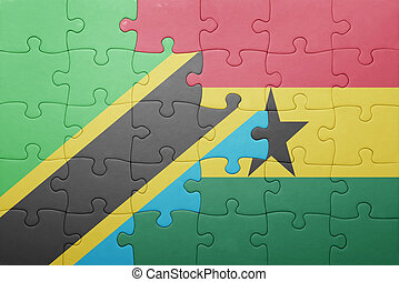puzzle with the national flag of ghana and tanzania