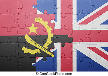 puzzle with the national flag of great britain and angola