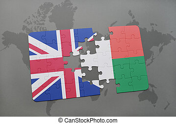 puzzle with the national flag of great britain and madagascar on a world map background.