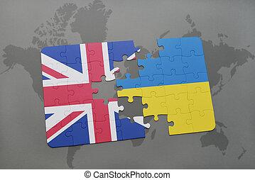 Map Of Great Britain Map Of Great Britain With British Flag On A