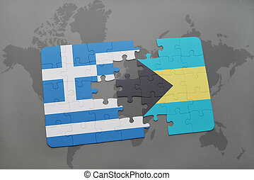 puzzle with the national flag of greece and bahamas on a world map background.