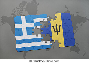 puzzle with the national flag of greece and barbados on a world map background.