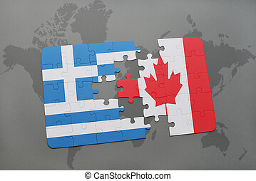 puzzle with the national flag of greece and canada on a world map background.