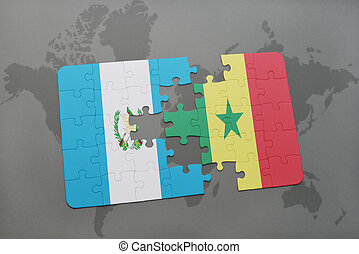puzzle with the national flag of guatemala and senegal on a world map