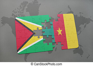puzzle with the national flag of guyana and cameroon on a world map