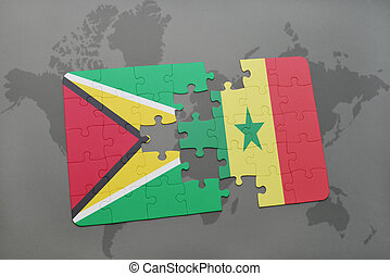 puzzle with the national flag of guyana and senegal on a world map