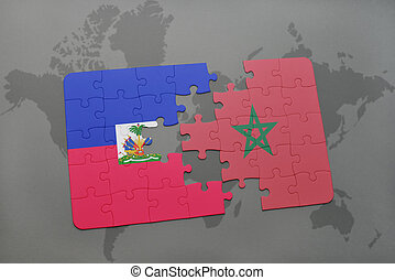 puzzle with the national flag of haiti and morocco on a world map