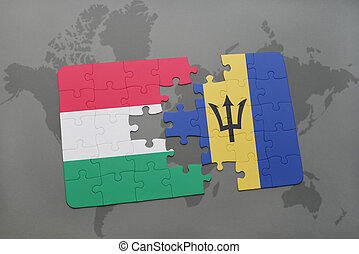 puzzle with the national flag of hungary and barbados on a world map