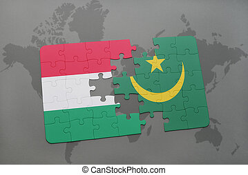 puzzle with the national flag of hungary and mauritania on a world map