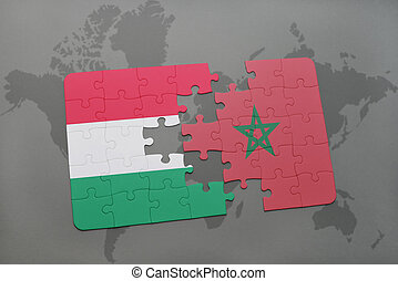 puzzle with the national flag of hungary and morocco on a world map