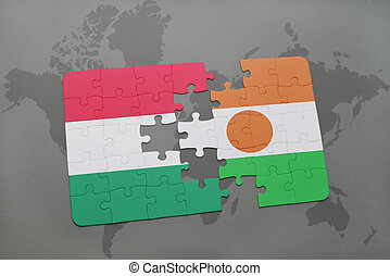 puzzle with the national flag of hungary and niger on a world map