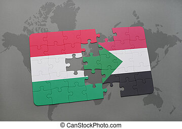 puzzle with the national flag of hungary and sudan on a world map