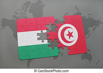 puzzle with the national flag of hungary and tunisia on a world map