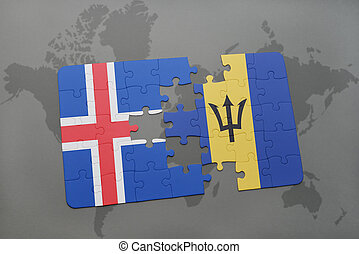 puzzle with the national flag of iceland and barbados on a world map