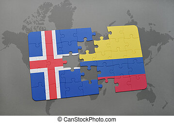 puzzle with the national flag of iceland and colombia on a world map