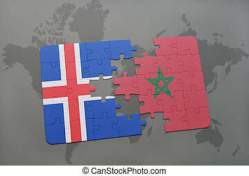 puzzle with the national flag of iceland and morocco on a world map